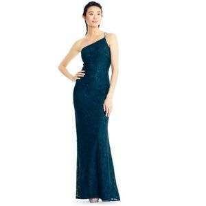 Adrianna Papell One Shoulder Lace Mermaid Gown